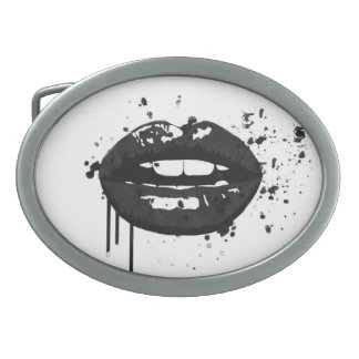 Black lips stylish fashion kiss makeup artist oval belt buckles