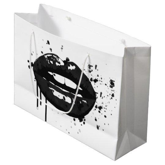 Black lips stylish fashion makeup large gift bag