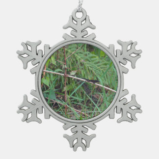 black lizard on reed stem florida plant pewter snowflake decoration