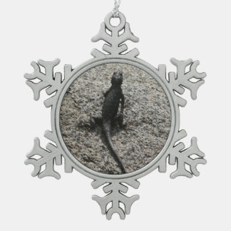 Black Lizard Snowflake Pewter Christmas Ornament