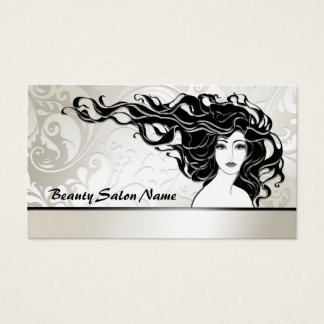 Black Long Curly Hair Woman Beauty Salon Card