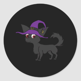 Black Long Haired Chihuahua with Witch Hat Round Sticker