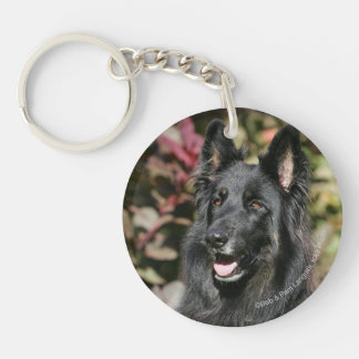 Black Long Haired German Shepherd Double-Sided Round Acrylic Key Ring