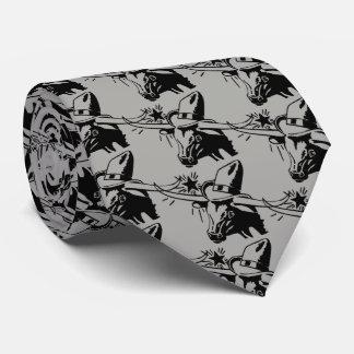Black Longhorn Steer with Cowboy Hat Tie