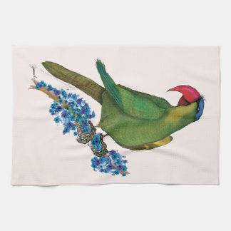 black lored parrot, tony fernandes tea towel