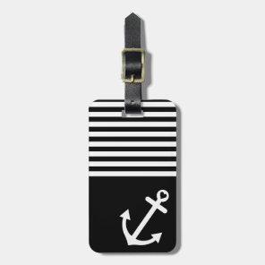 Black Love Anchor Nautical Luggage Tag