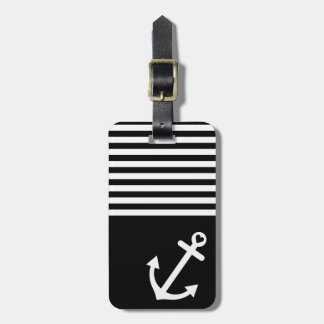 Black Love Anchor Nautical Luggage Tag