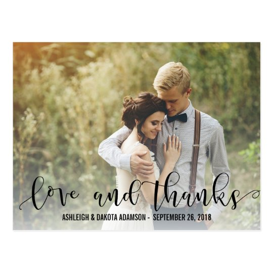 Black Love And Thanks Script | Personalised Photo Postcard