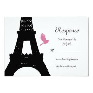 Black Love Birds RSVP 9 Cm X 13 Cm Invitation Card