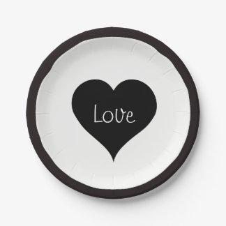 BLACK LOVE HEART Text Paper Plate