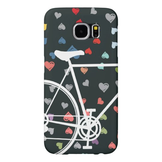 Black Love hearts Abstract Bicycle Samsung Galaxy S6 Cases