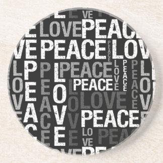 Black Love Peace Typography Coaster