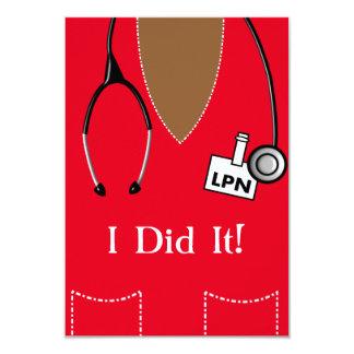 Black LPN Nurse Graduation Invitation Scrub #88
