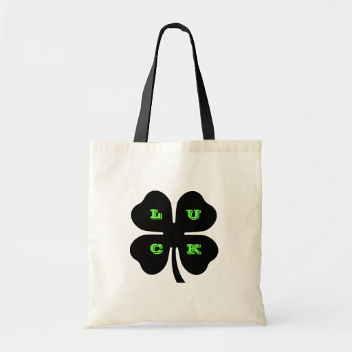 Black LUCK 4 Leaf Clover Tote Tote Bags