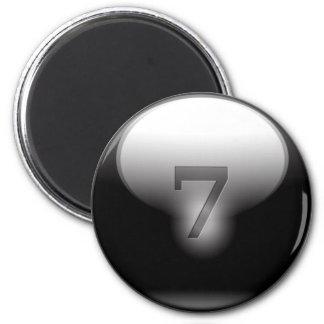 Black Lucky 7 6 Cm Round Magnet
