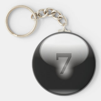 Black Lucky 7 Basic Round Button Key Ring