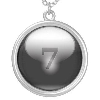 Black Lucky 7 Round Pendant Necklace