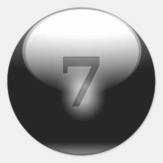 Black Lucky 7 Round Sticker