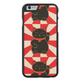 Black Lucky Cat Carved Maple iPhone 6 Case