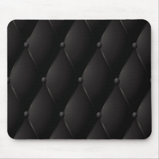 Black luxury buttoned leather mouse mat