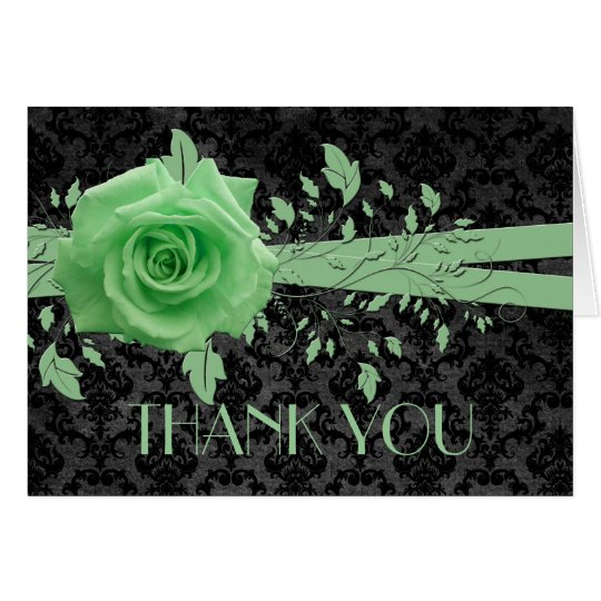 Black Luxury Damask Green Rose Thank you card