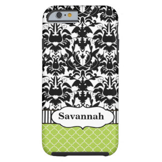 Black Macki Damask Moroccan Personalized iPhone 6  Tough iPhone 6 Case