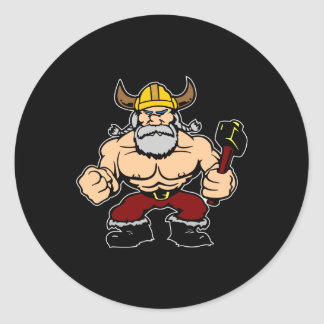 Black Mad Viking Classic Round Sticker