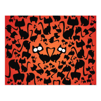 Black magic cat pattern on a red background postcard
