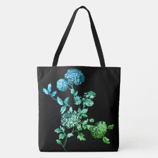 Black Magic Garden Modern Botanical Floral Toile Tote Bag