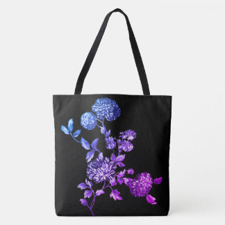 Black Magic Modern Botanical Floral Toile Tote Bag
