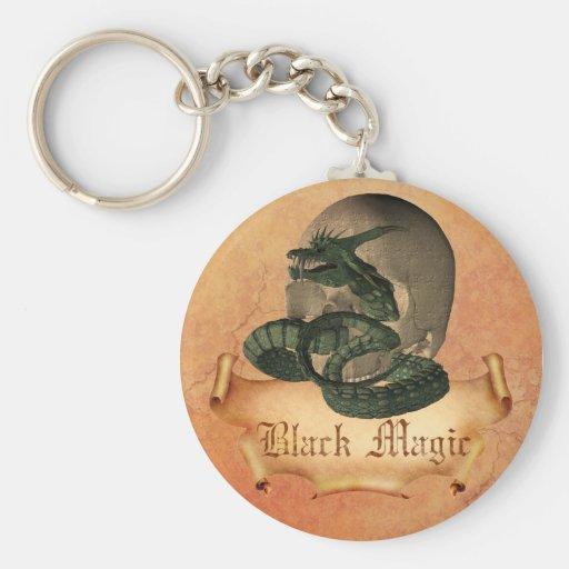Black magic Skull Basic Round Button Key Ring