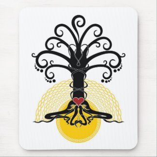 Black magic tree with red heart on it mouse mat