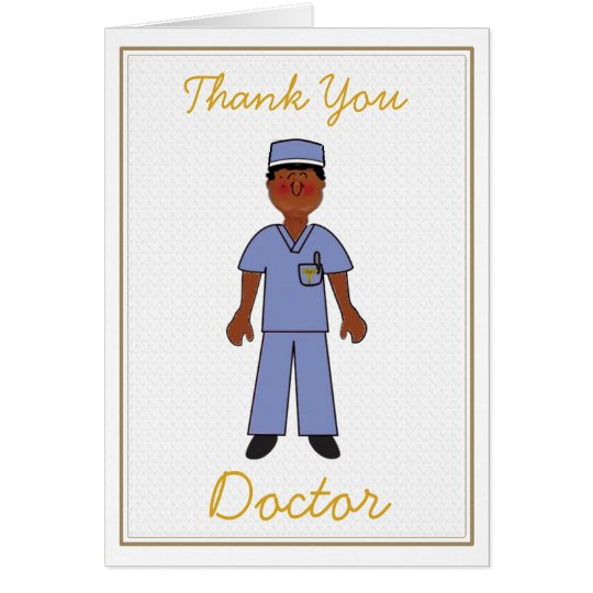 Black Male Doctor Thank You Card