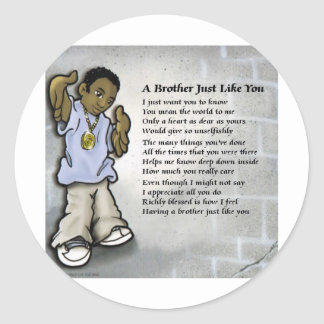 Black Male Youth brother Classic Round Sticker