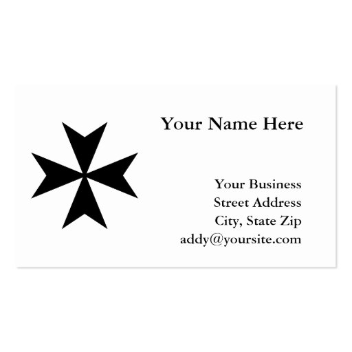 Black Maltese Cross Double-Sided Standard Business Cards (Pack Of 100)