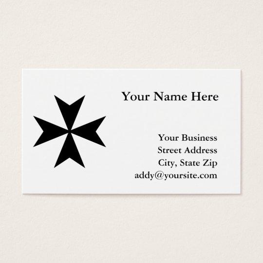 Black Maltese Cross Business Card