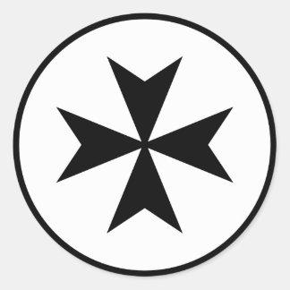 Black Maltese Cross Classic Round Sticker