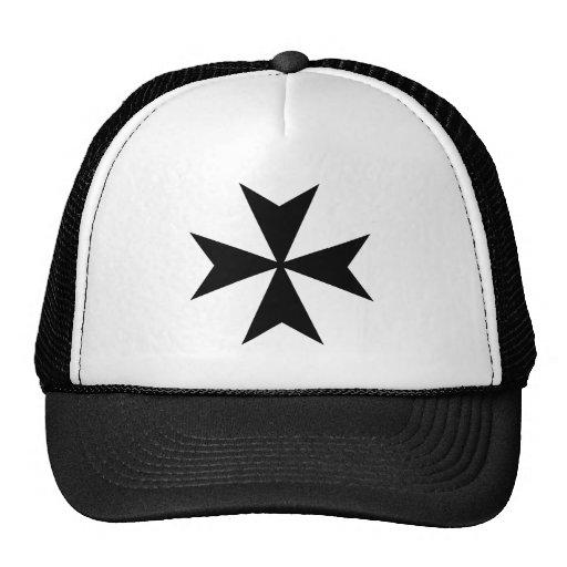 Black Maltese Cross Trucker Hats