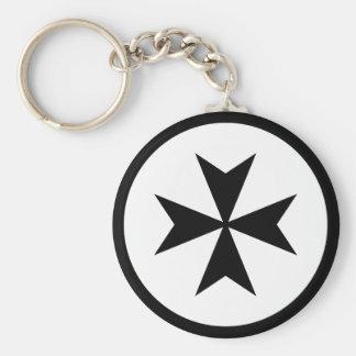 Black Maltese Cross Key Ring