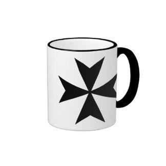 Black Maltese Cross Ringer Mug