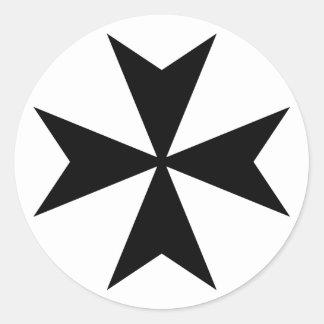 Black Maltese Cross Round Sticker