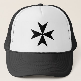 Black Maltese Cross Trucker Hat