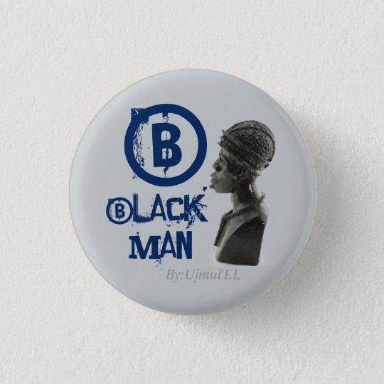 Black Man blue/grey button