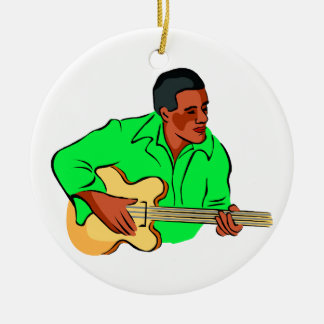 Black man playing electric bass green shirt Double-Sided ceramic round christmas ornament