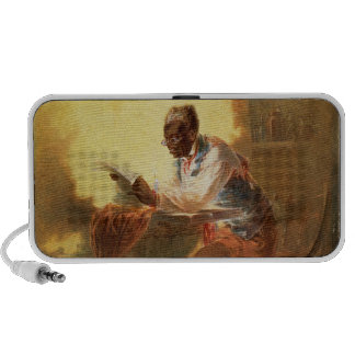 Black Man Reading Newspaper by Candlelight Laptop Speakers
