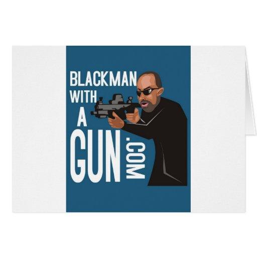 Black Man With A Gun LogoWear Greeting Cards