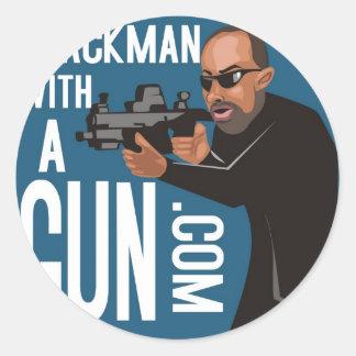 Black Man With A Gun LogoWear Round Sticker