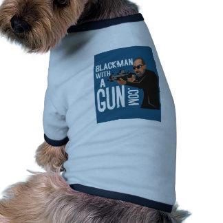 black man with a gun podcast pet t-shirt