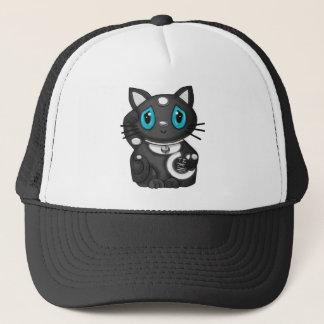 Black Maneki Neko Bekoning Good Luck Cat Trucker Hat