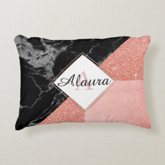 Black Marble and Rose Gold Accent Pillow
